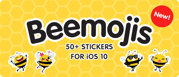 Beemojis Stickers App for iOS 10 - Available on the Apple App Store!